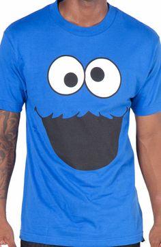 Adult Men's Sesame Street Cookie Monster Face T-Shirt: Great @ Parties