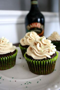 Irish Car Bomb Cupcakes  Guinness infused, chocolaty cupcakes, filled with Jameson Irish whiskey ganache, topped with sweet and creamy Baileys buttercream.  This I have got to try!