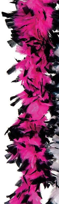 Deluxe Hot Pink & Black Turkey Feather Boa - Party Depot