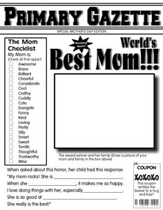 Free printable mother 39 s day newspaper template holiday for Idea door primary sharing time