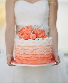 Peach Ombre Ruffled Wedding Cake Follow us on Instagram - @ bridemagazine #wedding #cake #weddingcake