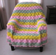 Tulip Crocheted Afghan pattern.  Easy afghan to crochet for spring and summer!