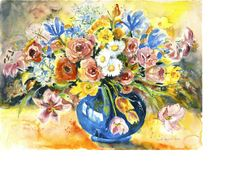 Original art for sale at gallree.com - Blue Vase by Ingrid  Dohm - $0.00 | Watercolor Paintings