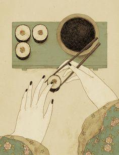 Japan series by Monica Barengo on Illustration Served Rocky Horror, Colorful Drawings, Art Drawings, Love Illustration, Monochrom, Heart Art, Food Illustrations, Art Plastique, Japanese Art