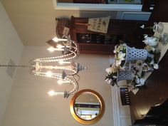 My lovely dining room chandelier from Horchow.  #Horchow