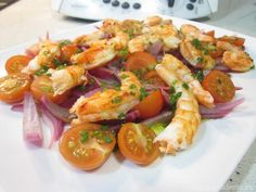 Shrimp salad recipe with Thermomix thermomix # shrimp Recetas Shrimp Salad Recipes, Dinner, Kitchen, Food, Pastel, Dining, Cooking, Cake, Food Dinners