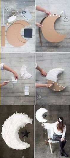 DIY Moon Pinata tutorial for weddings - Creative Diy Poject Ideas Crafty Projects, Projects To Try, Party Deco, Diy And Crafts, Paper Crafts, Ideias Diy, Space Party, Diy Décoration, Diy Wedding Decorations