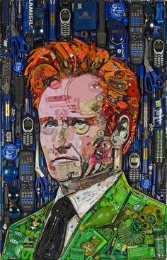 Honey Boo Boo is a Trashy Work of Art and Other Jason Mecier Portraits - Conan O'Brien trash portrait jason mecier - Collages, Collage Art, 3d Portrait, Mosaic Portrait, Things Organized Neatly, Trash Art, Found Object Art, Wow Art, Celebrity Portraits