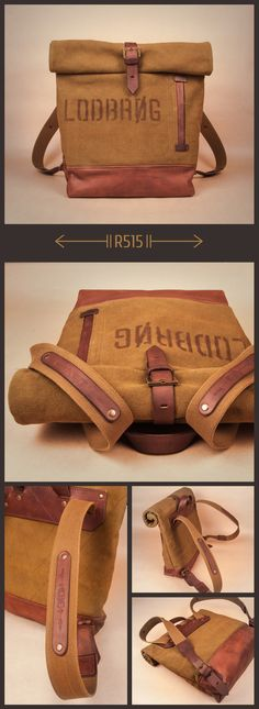 R515 Backpack is made of waxed cotton and vegetable tanned leather. Description: size 11.8X15.7X4.3 in