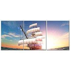 Framed Sailing Ship Sea Sunset Modern Art Canvas Painting Prints Wall Home Decor #AmoyArt #Impressionism