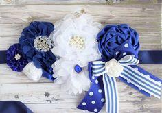 Royal Blue White Flower Sash Royal Maternity Sash Royal Blue