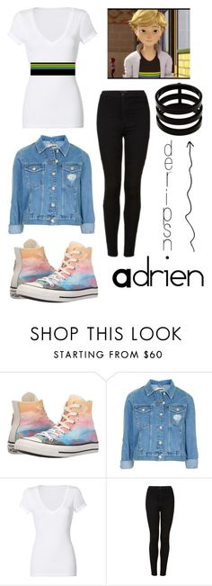 """""""Adrien7 - Miraculous Ladybug"""" by nicoleoj ❤ liked on Polyvore featuring Converse, Topshop, Michael Stars and Repossi"""