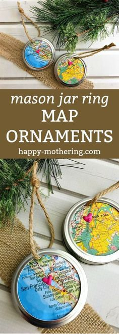 Are you looking for a map ornament tutorial that's fast & fun? This Mason Jar Ring Map Ornament uses simple supplies to create a unique Christmas ornament! noiva e madrinhas Surprise a Travel Lover with a Mason Jar Ring Map Ornament Unique Christmas Ornaments, Noel Christmas, Christmas Decorations, Country Christmas, Christmas Ideas, Tree Decorations, Picture Ornaments, English Christmas, Christmas Clothes