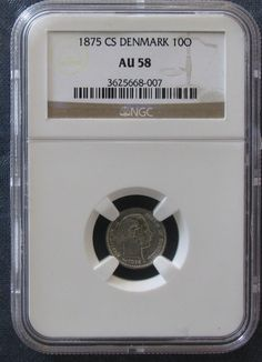 1875 CS Denmark 10 Ore; *NGC AU58*; KM # 795.1; Silver