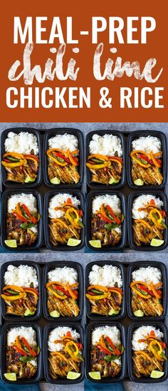 Meal-prep chicken marinated in a spicy garlic, chili, cilantro, lime marinade, served with rice and colorful bell peppers. This tasty flavor-packed meal is Easy Healthy Meal Prep, Vegetarian Meal Prep, Easy Healthy Recipes, Simple Meal Prep, Health Meal Prep, Easy Work Lunches Healthy, Meal Prep Weight Gain, Healthy Chicken Recipes For Weight Loss Clean Eating, Easy Meal Prep Lunches