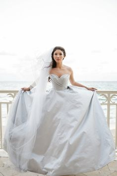 Romona Keveza strapless wedding dress | Petronella Photography & Ashley Gerrity Photography | see more on: http://burnettsboards.com/2014/03/steel-grey-radiant-orchid-bridal-session/