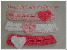Valentine's Day Crochet Crochet Head Band/Two by MommyisCrafty, $6.50
