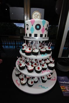 50th Anniversary Cake & Cupcakes for a Sock-Hop! YUM