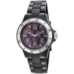 L by ELLE Black Plastic Silver-Tone Bezel Watch (403.945 IDR) ❤ liked on Polyvore featuring jewelry, watches, silvertone watches, coin jewelry, silver tone watches, black wrist watch and black dial watches
