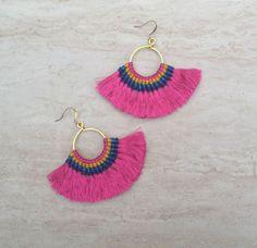 Tassel Hoop Earrings Fuschia Festival Tassel Earrings Tassle Earings BOHO Chic Earrings Gypsy Tassle Jewelry Trending Now Wholesale Jewelry by midgetgems on Etsy