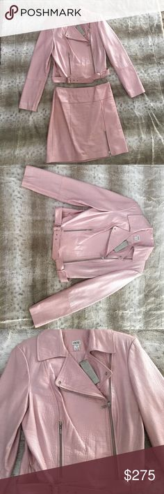 Pink Croc Leather Jacket and Skirt Pink croc print leather jacket and skirt. The jacket is a size 10 and the skirt is a size 8. Both brand new and never worn. If you want one separately, let me know. Cache Jackets & Coats