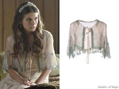 """In the episode (""""Higher Ground"""") Lady Kenna wears a Soho de Luxe Embroidered Capelet. Cute Comfy Outfits, Cool Outfits, Kenna Reign, Lady Kenna, Caitlin Stasey, Reign Mary, Reign Dresses, Custom Headbands, Reign Fashion"""
