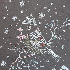 Bird in snow- White- Grey- Snow flakes- winter- art-room decor-red berries-christmas gift- christmas decor