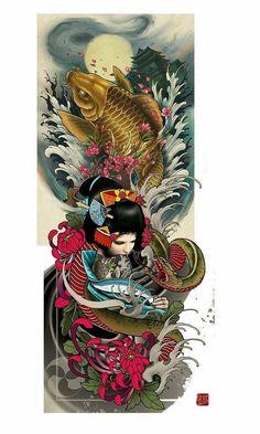 Tattoo Japanese Tattoo Art, Japanese Tattoo Designs, Japanese Sleeve Tattoos, Japanese Painting, Japanese Art, Leg Sleeve Tattoo, Best Sleeve Tattoos, Tattoo Sleeve Designs, Japan Tattoo Design