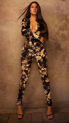 456c65790ffa Kourtney Kardashian wearing PrettyLittleThing Black Floral Velvet Jumpsuit  and PrettyLittleThing Black Patent Pu Single Strap Stiletto Sandals