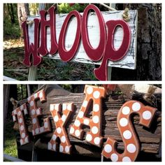 Custom Team/School Barn Wood Letter Signs. $30.00, via Etsy.  I could make the TEXAS one myself for my yard!