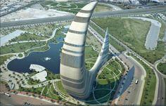 Dubai is a city in the United Arab Emirates, located within the emirate. The emirate of Dubai is located on the southeast coast of the Persian Gulf and is Unusual Buildings, Interesting Buildings, Amazing Buildings, Architecture Design, Futuristic Architecture, Beautiful Architecture, Dubai Tower, Dubai City, Dubai Uae