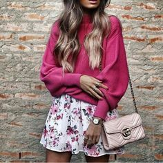 Major pink fashion inspiration and perfect for Autumn/Fall - need a Gucci bag!
