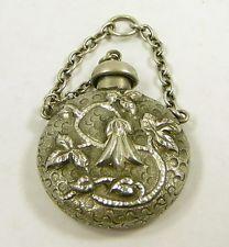 Silver Plated Repousse Chatelaine Perfume Scent Bottle Miniature Pendant vtg
