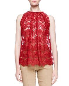 LANVIN Sheer Lace Trapeze Top. #lanvin #cloth #