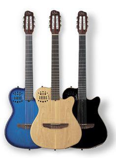 Godin semi-acoustic guitars.