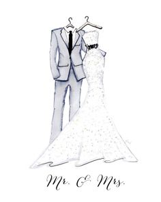 Melsys on Etsy Wedding Illustration, Family Illustration, Cute Illustration, Wedding Dress Sketches, Jamel, Dress Drawing, Maid Dress, Fashion Design Sketches, Instagram Highlight Icons