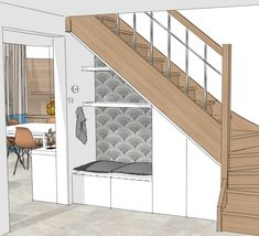 perspective rangement & banquette sous escalier HI. perspective rangement & banquette sous escalier The post HI. perspective rangement & banquette sous escalier appeared first on Arbeitszimmer Diy. Staircase Storage, Loft Stairs, House Stairs, Staircase Design, Storage Under Stairs, Closet Under Stairs, Basement Closet, Basement Stairs, Basement Ideas