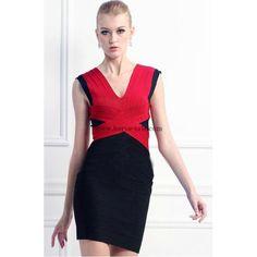 Herve Leger Red and Black V-neck Sexy Bandage Dress H264LRB