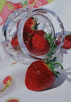 """Strawberries and Crystal"" - Karin Isenburg, watercolor {contemporary art fruit still life painting} Watercolor Fruit, Fruit Painting, Watercolor Flowers, Watercolour Paintings, Watercolors, Still Life Fruit, Best Fruits, Fruit Art, Food Art"