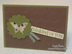 Stampin' Up! honeycomb embossing folder, elegant butterfly and large scallop circle punch.  Curly cute stamp set for the sentiment