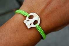 Lime Green macrame bracelet with skull charm by SilverCandy, $22.00