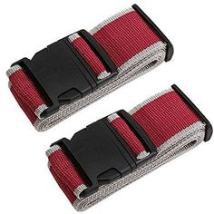 TRANVERS Luggage Straps For Suitcases Baggage Belt Heavy Duty Adjustable 2 Pack Burgundy