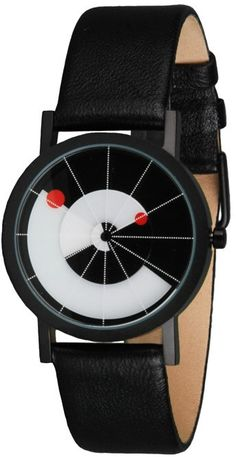 Originally inspired by the artificial horizon instruments on aircraft, the watches fine white lines provide a sense of perspective to an ever-shifting horizon. The hour and minute hands each feature a round red index which rotates across the black and white dial. The shift of time alters and aligns the dial's symmetry with each passing hour. £85.00
