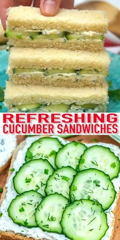Cucumber Sandwiches are the perfect refreshing and delicious finger food. They are ready in minutes and can be enjoyed as appetizers or with tea. #cucumbersandwiches #appetizer #recipevideo #30minutemeals Cucumber Sandwiches, Sandwiches For Lunch, Sandwich Recipes, Lunch Recipes, Vegetarian Recipes, Party Food Recipes, Sandwich Ideas, Dessert Recipes, Desserts