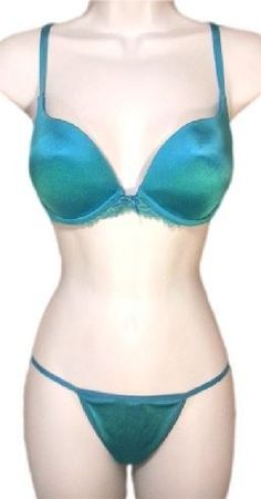 18.00$  Watch now - http://vipst.justgood.pw/vig/item.php?t=injfrm939 - VICTORIA'S SECRET Vintage Angels Satin Lace Plunge Bra Set Blue/Teal 34C/S-M