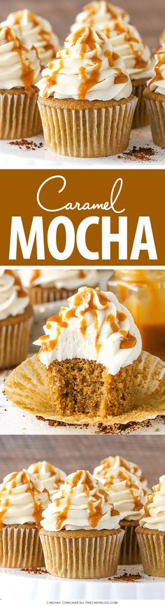 Caramel Mocha Cupcakes - a coffee flavored cupcake, caramel frosting and caramel drizzle | by Lindsay Conchar for TheCakeBlog.com