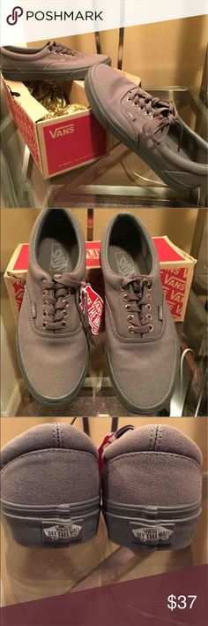 Gray Vans These were purchased(with 5 more pair last month) without knowledge of the proper size needed.  They are brand new in the box...never worn. Way too big for me to wear them comfortably Women's 9.6/Men's 8.0 Vans Shoes Flats & Loafers