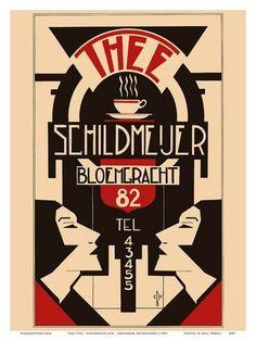 Original Vintage Posters -> Advertising Posters -> Thee Schildmeijer Art Deco - AntikBar Art Deco Print, Art Deco Design, Art Prints, Art Deco Illustration, Retro Kunst, Retro Art, Art Nouveau, Vintage Graphic Design, Graphic Design Posters