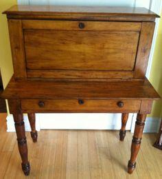 ANTIQUE 100+ y/o Poplar Wood Plantation Desk w Pidgeon Hole Top & Skeleton Key