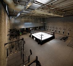Materials used throughout this boxing club in Kuwait were influenced by the simple interiors of retro gyms